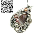 Lake Superior Agate Pendant Wire Wrapped in Sterling Silver. Heather Jordan Jewelry