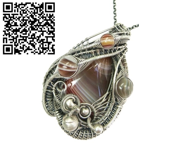 Lake Superior Agate Pendant Wire Wrapped in Sterling Silver. Heather Jordan Heather Jordan Jewelry