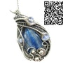 Blue Kyanite Wire-Wrapped Pendant with Rainbow Moonstone. Heather Jordan Jewelry
