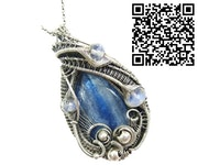 Blue Kyanite Wire-Wrapped Pendant with Rainbow Moonstone.