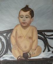 El niño Lucas, llevaba tres meses pintando y quería pintarme.. Lucas Dominguez