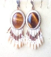 Tiger eye stone embroidered earrings. Agnesmdesigns