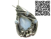 Blue Lace Agate Wire-Wrapped Pendant with Rainbow Moonstone.