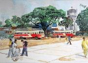 Gare routière en Inde du Sud (province du Karnataka).
