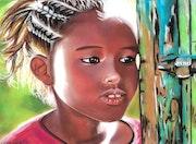 Léna - tableau pastel sec portrait enfant ethnique africaine. Diva Divine
