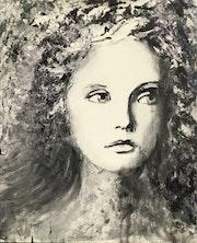 Jeune fille en noir et blanc.