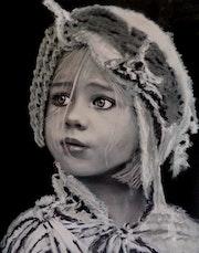Irina - tableau pastel sec portrait enfant bohème romantique. Diva Divine