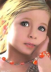 Rose - tableau pastel sec portrait enfant romantique. Diva Divine