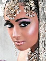 Soya - tableau pastel sec portrait femme ethnique orientale.