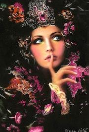 Stella - tableau pastel sec portrait femme bohème.