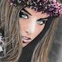 Virginia - Tableau pastel sec portrait femme bohème. Diva Divine