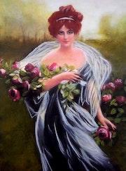 Amélie - tableau pastel sec femme romantique.
