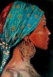 Asia - tableau pastel sec portrait femme ethnique.