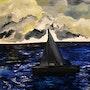 Painting landscape sea sailboat, signed by joky kamo.