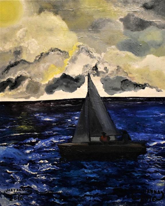 Paysage mer voilier, signé par joky kamo. Joky Kamo Joky Kamo