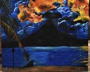 Peinture paysage coucher de soleil, original joky kamo.