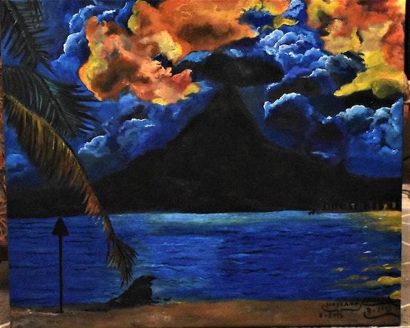 Peinture paysage coucher de soleil, original joky kamo. Joky Kamo Joky Kamo