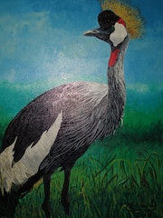Birds crowned royal crane painting, by joky kamo. Joky Kamo