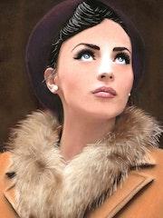 Madeleine - tableau pastel sec portrait femme romantique.