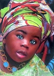 Mélissa - tableau pastel sec portrait enfant ethnique africaine. Diva Divine