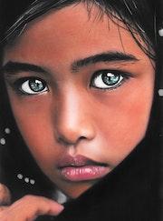 Isabella - tableau pastel sec portrait enfant romantique. Diva Divine