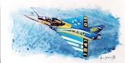 Mirage 2000c 75eme anniversaire de L'escadron 2 /5 île de France. Forangeart F. Baldinotti Peintre De l'air