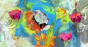Tête de perroquet bleu. Ferrokaro