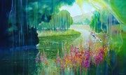 Spellbound River, large oil painting with ducks by a river.