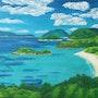Kindaa tropical beach. Juliepaints