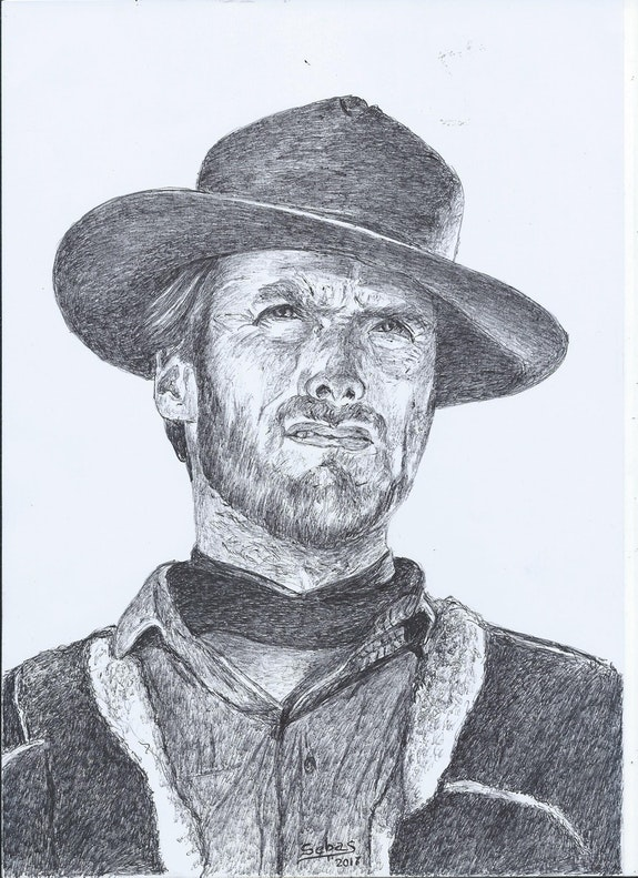 Retrato de Clint Eastwood.  Sebas