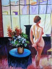 Nu dans l'atelier (copie d'une oeuvre de Jean puy).