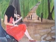 Peinture a l'huile sur toile de lin de 33 X 41 cm intitulée la promenade. Prost's Art