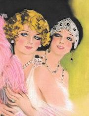 Magda & gaby - tableau portrait femmes rétro bohème.