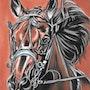 Oscar - tableau pastel sec portrait cheval. Diva Divine