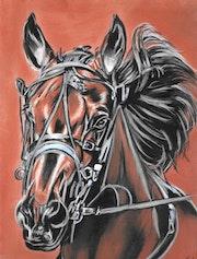 Oscar - tableau pastel sec portrait cheval.