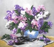 Lilas - tableau pastel sec fleurs.