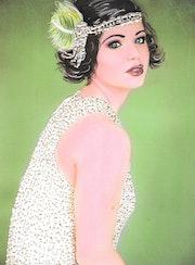 Fanny - tableau portrait femme rétro années 20 années folles. Diva Divine