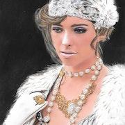 Caroline - tableau pastel sec portrait femme rétro, romantique, shabby. Diva Divine