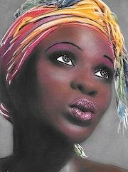 Celia - tableau portrait femme ethnique, africaine. Diva Divine