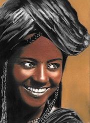 Fatou - tableau pastel sec portrait femme ethnique africaine. Diva Divine
