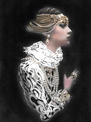 Louise - tableau pastel sec portrait femme style Baroque.