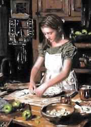 Louison - tableau pastel sec jeune fille, campagne, shabby.