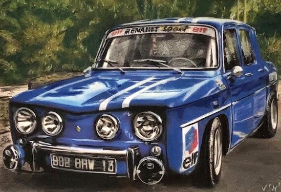 Voiture Renault 8 - tableau pastel sec voiture vintage. Diva Divine Diva Divine