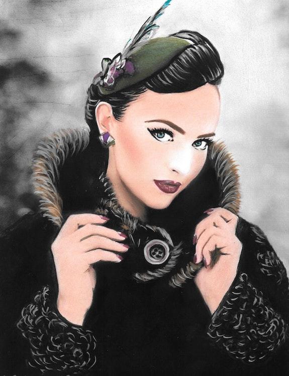 Sophie - tableau pastel sec portrait femme romantique. Diva Divine Diva Divine