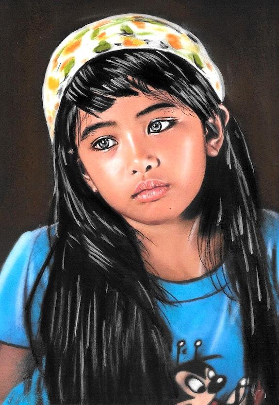 Isabella - tableau pastel sec portrait enfant romantique. Diva Divine Diva Divine