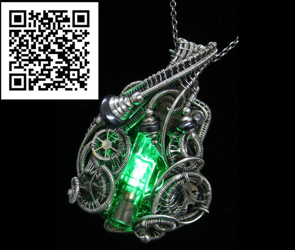 Green Nixie Tube Steampunk-Cyberpunk Fusion Pendant. Heather Jordan Heather Jordan Jewelry