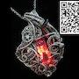 Red led Nixie Tube Cyberpunk-Steampunk Fusion Pendant. Heather Jordan Jewelry
