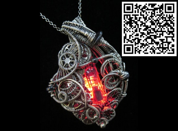 Red led Nixie Tube Cyberpunk-Steampunk Fusion Pendant. Heather Jordan Heather Jordan Jewelry