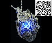 Blue Hex Nut led Steampunk/Cyberpunk Fusion Pendant. Heather Jordan Jewelry