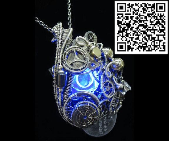 Blue Hex Nut led Steampunk/Cyberpunk Fusion Pendant. Heather Jordan Heather Jordan Jewelry